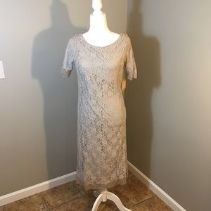 DownEast Silver Gray Floral Lace Dress (NEW)
